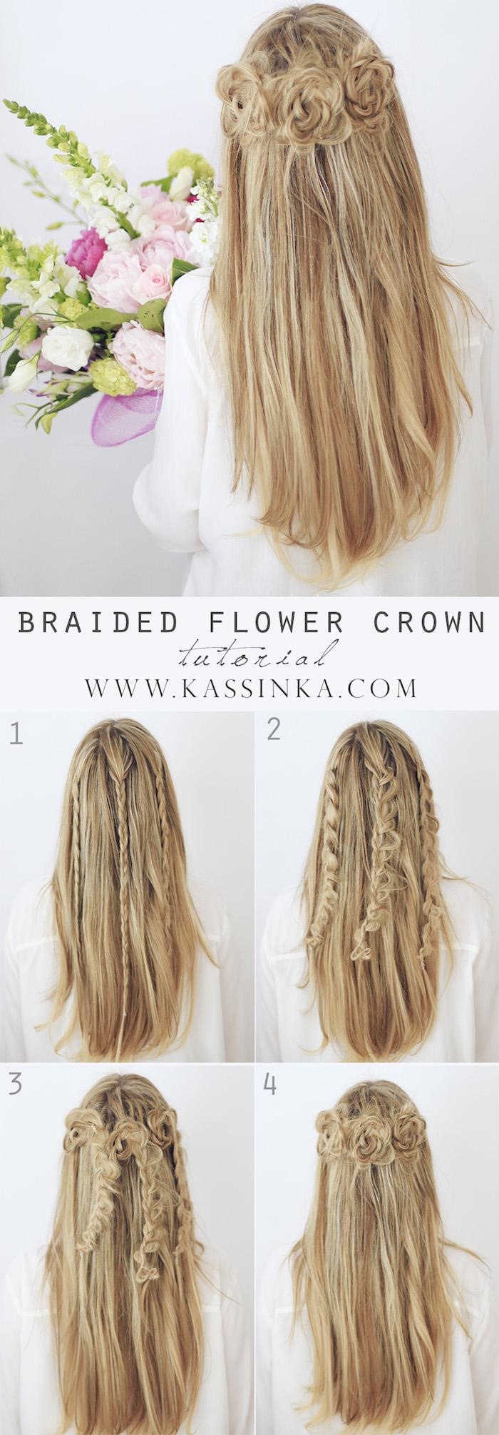 flechtfrisuren lange haare, lange blonde haare, frisur mit rosen, hippie frisur