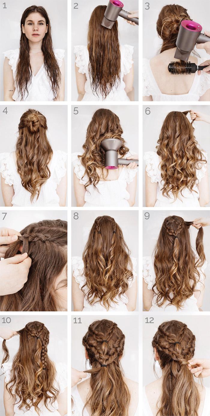 flechtfrisuren lange haare, alltagsfrisur mit zöpfen, haarstyling, haarfrisur selber machen