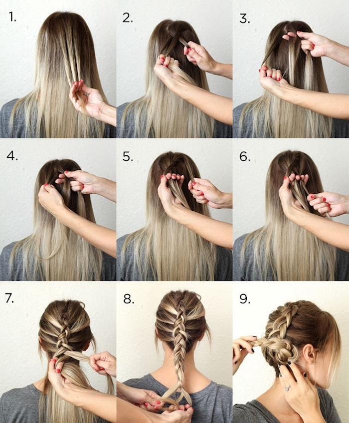 flchtfrisuren lange haare, alltagsfrisur mit großem zopf, haare hochstecken