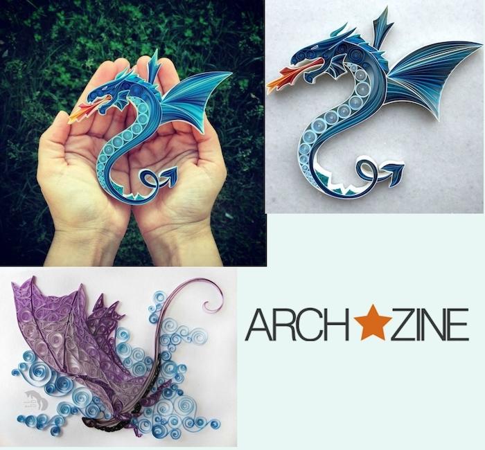 ein fliegender violetter quilling drache und blaue wolken aus papierstreifen, eine hand mit einem kleinen blauen drache mit blauen flügeln aus papierstreifen, drache basteln aus papier