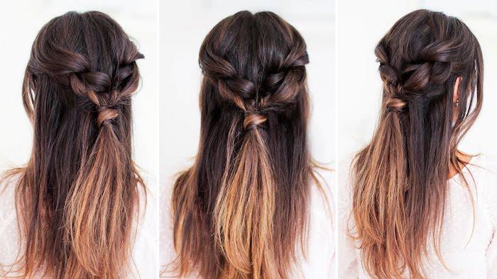 frisuren für lange haare, dunkelbraune haare mit hellbraunen spitzen, flechtfrisuren