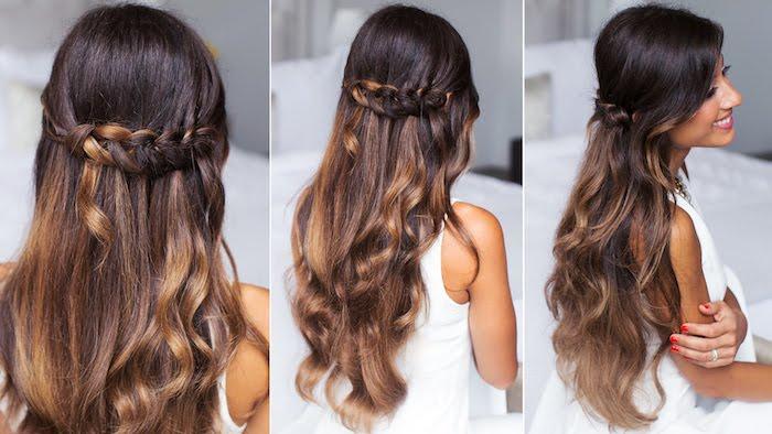 frisuren für lange haare, dunkelbraune lockige haare im obmre-look, flechfrisur