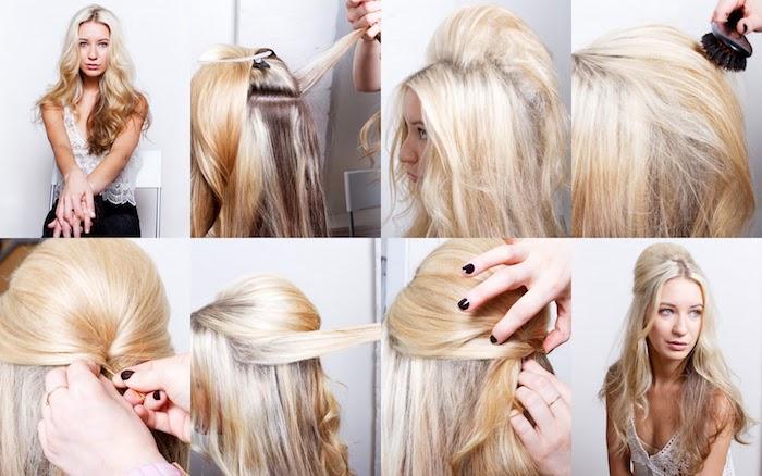 frisuren für lange haare, frau mit blonden haaren und frisur im retro-stil