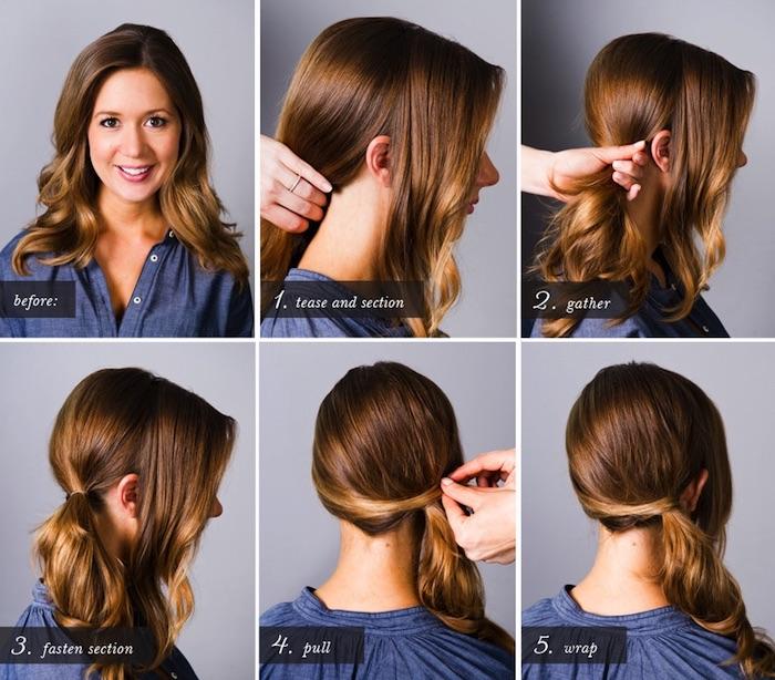 frisuren für lange haare, seitlicher pferdeschwanz selber machen, alltagsfrisur