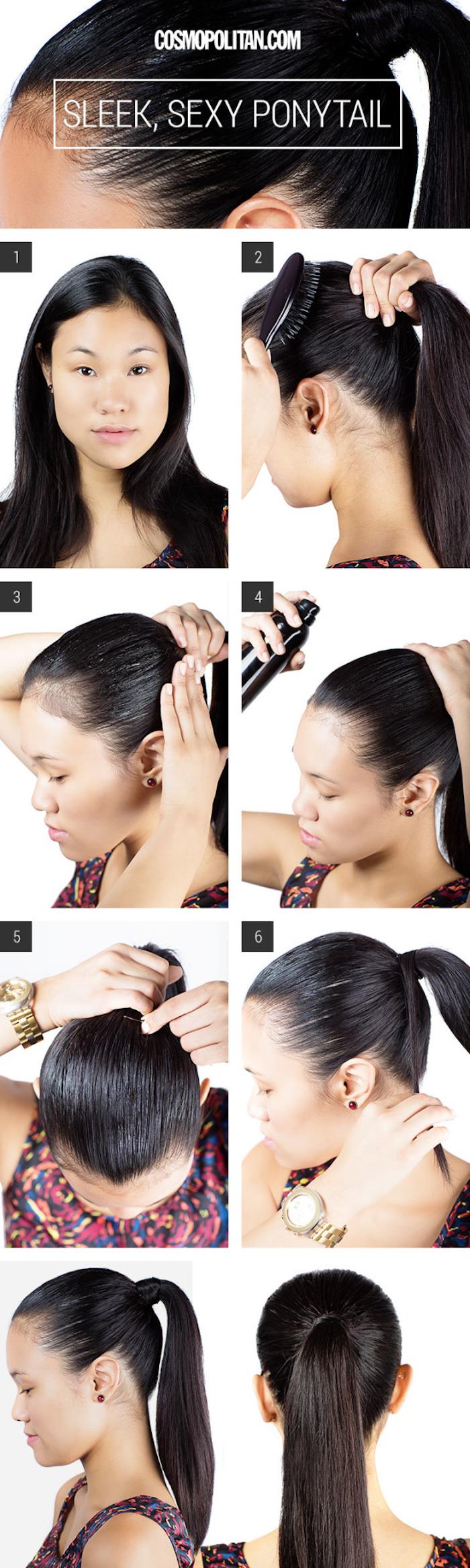 frisuren für lange haare, pferdeschwanz selber machen, alltagsfrisur