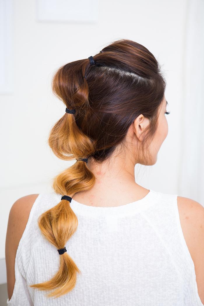 frisuren lange haare, the bubble braid, alltagsfrisur für lange haare