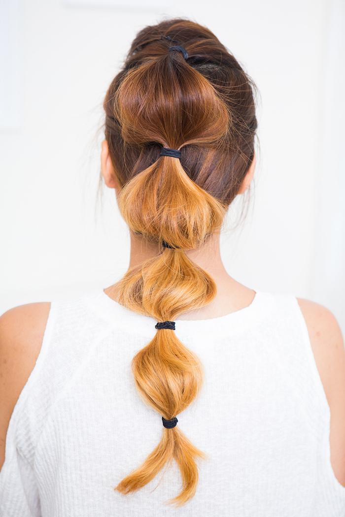 frisuren lange haare, braune haare mit karamellfarbenen spitzen, the bubble braid