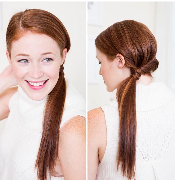 frisuren lange haare, frau mit glatten kupferfarbenen haaren und alltagsfrisur, tiefer ferdeschwanz