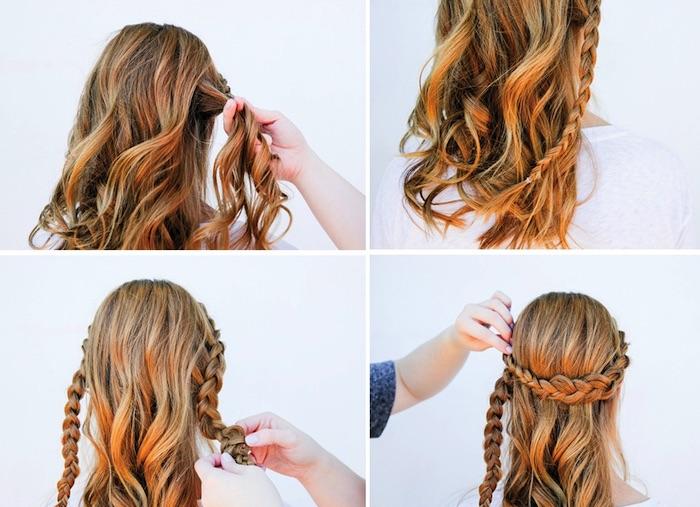 frisuren schulterlange haare, frisur mit zöpfen, haarkranz flechten, alltagsfrisur