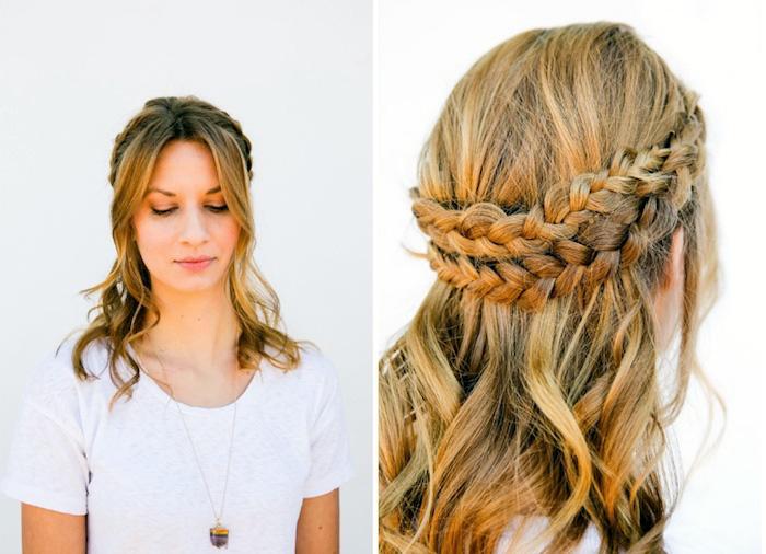 frisuren schulterlange haare, frau mit honigfarbenen haaren und haarkranz-frisur