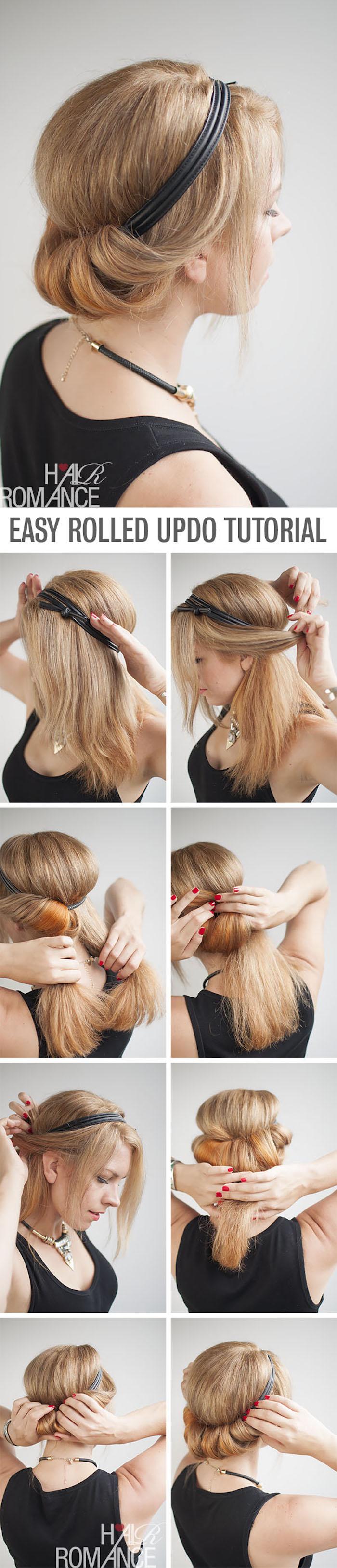 frisuren selber machen, haare hochstecken, hippie-frisur mit kopfband selber machen