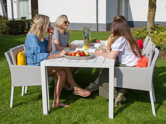 garten möbel set komfort und stil in dem eigentum vier frauen sitzen am tisch und plaudern obst auf dem gartentisch ananas graue gartenmöbel