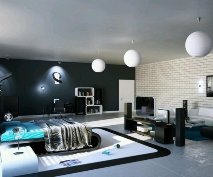 drei runde Lampen, ein blaues Bett, Schlafzimmer einrichten Beispiele in Backstein Optik
