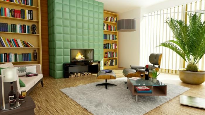 enorme Wohnzimmer Fernsehwand, in Grün gepostert, zwei Bücherregale symmetrisch gestellt