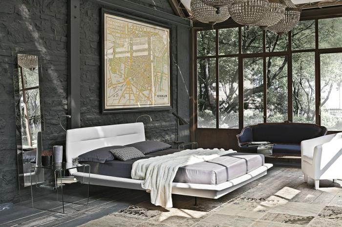 Glawand zu dem Garten, ruhiges Ambiete zum Schlaffen, Schlafzimmer einrichten Beispiele