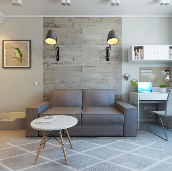 eine Wand mit Naturstein Optik, zwei Lampen, ein Wandbild mit Vögel, Wohnwand selber zusammenstellen