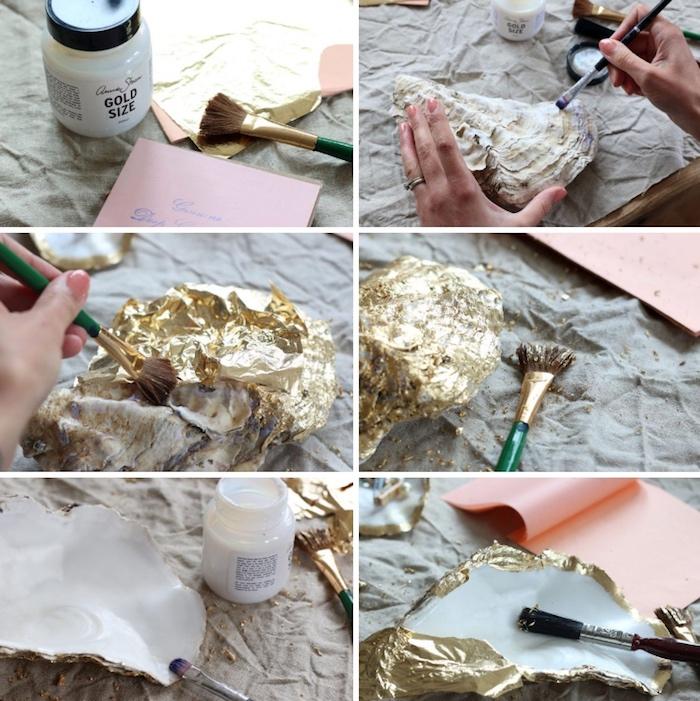 große muscheln mit goldener farbe verschönern, diy schmuckschalen aus muscheln, diy geschenke