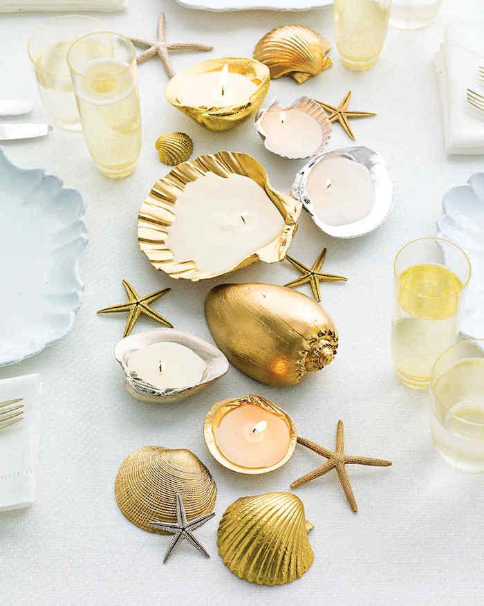große muscheln, tischedeko selber machen, teelichthalter aus goldenen muscheln