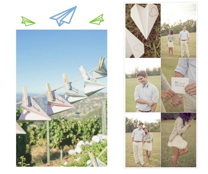 ein liebespaar und ein weißer herzähnlicher papierflieger mit einem kleinen herzen, garten mit grünen pflanzen und bäumen, papierflieber selber basteln, blauer himmel, kleine wäscheklammer und papierflieger