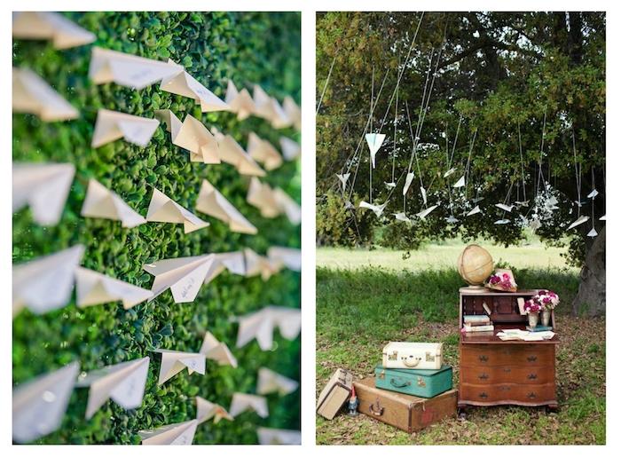 weiße, grüne und braune koffer, ein baum mit grünen blättern, viele kleine weiße papierflieger, basteln mit papier, dekoration mit papierfliegern