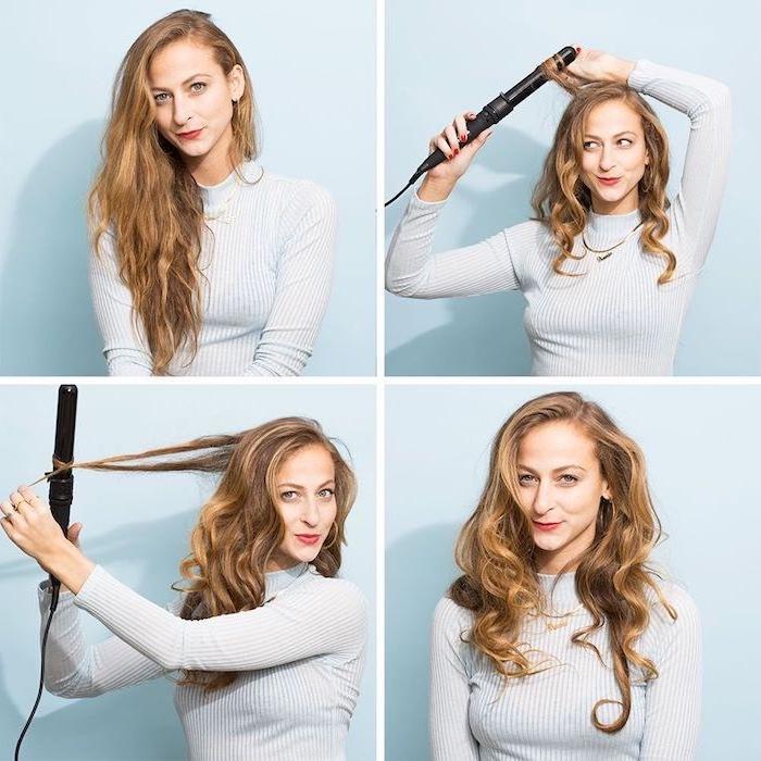 haare locken, anleitung wie die haare gestylt werden, vier bilder, eine frau, eine schnelle frisur
