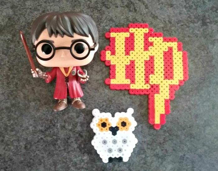 Figuren von Harry Potter Fans, eine Tabelle, Hedwick Eule - Bügelperlen Ideen