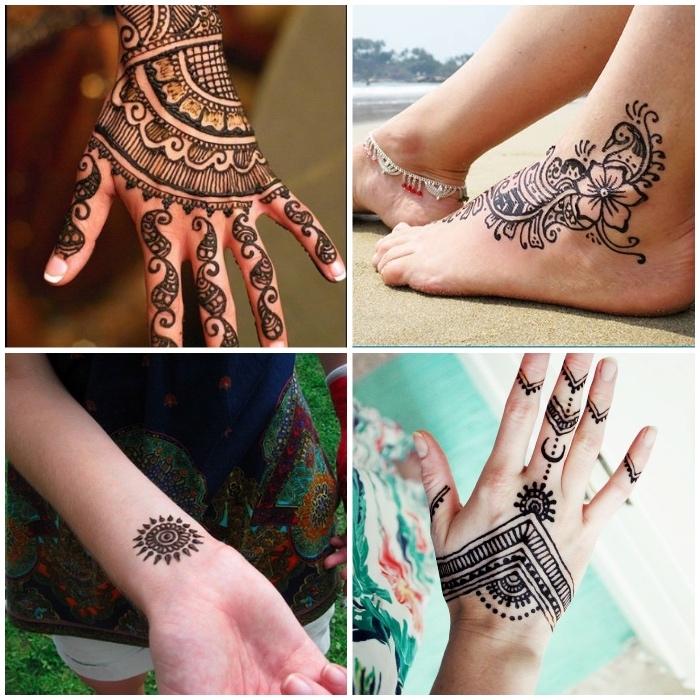 henna bilder, temporäre tattoos mit henna, mehndi mit blumen muster am fuß