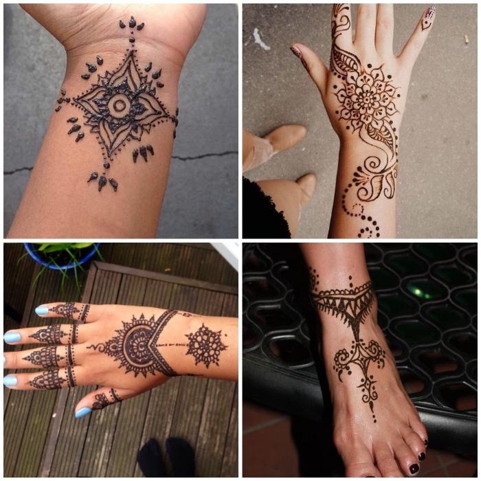 henna schablonen, detaillirte tattoos mit henna, traditionelle indische tätowierungen