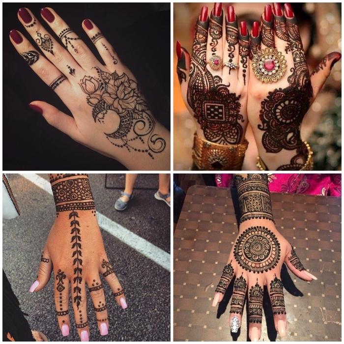 henna selber machen, lange nägel, roter nagellack, traditionelle indische tätowierungen