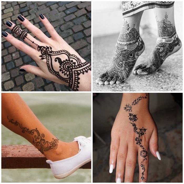 henna selber machen, schwarzer nagellack, temporäres tattoo am bein, mehndi