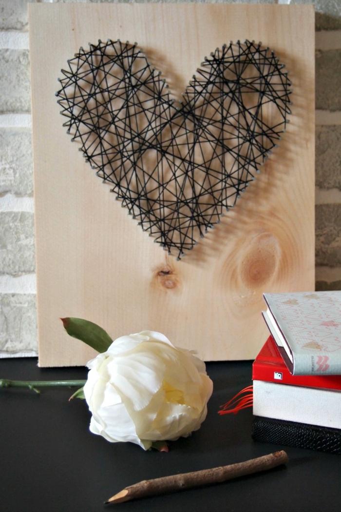 wer hat gesagt das schwarze Herz Hass bedeutet, romantisches String Art Bild zum Valentinstag Geschenk,