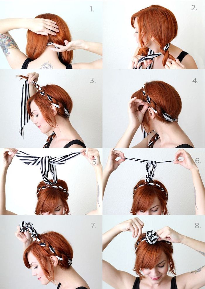 hochsteckfrisuren einfach, frau mit roten haaren, bandana frisur mit zopf, alltagsfrisur