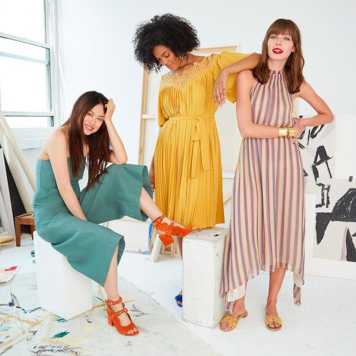 schönes hochzeitsgast kleid drei modelle jumpsuit festlich oder kleid in gelb beige bunte farbe grünes overall