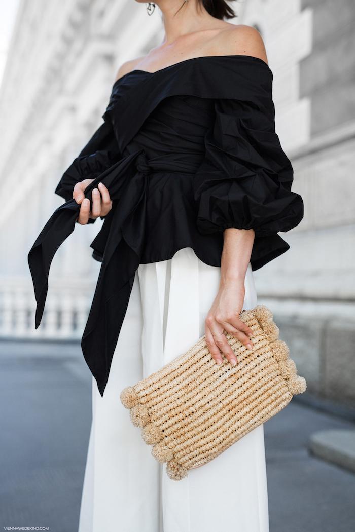 tasche elegante kleider für hochzeit schwarze bluse breite weiße hose bequeme kleider kleidung