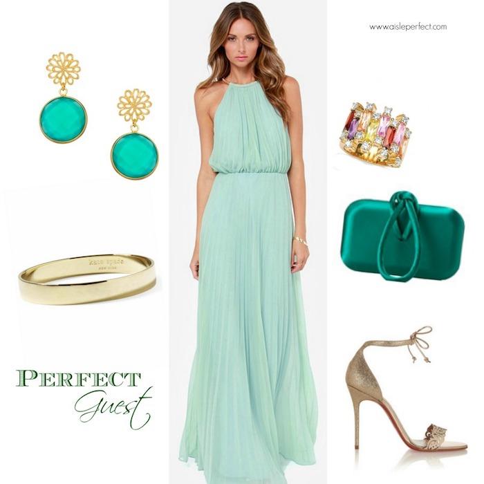 hochzeitsoutfit idee für stilvolle gäste mintgrünes kleid bodenlang mit den passenden accessoires