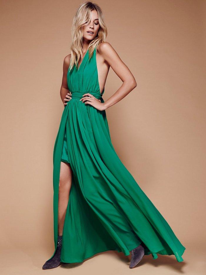 abendkleider hochzeit bodenlanges grünes kleid idee für damen mit stil stiefeletten stiefel