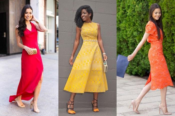 bunte abendkleider hochzeit warme töne an dem outfit ideen in gelb orange und rot