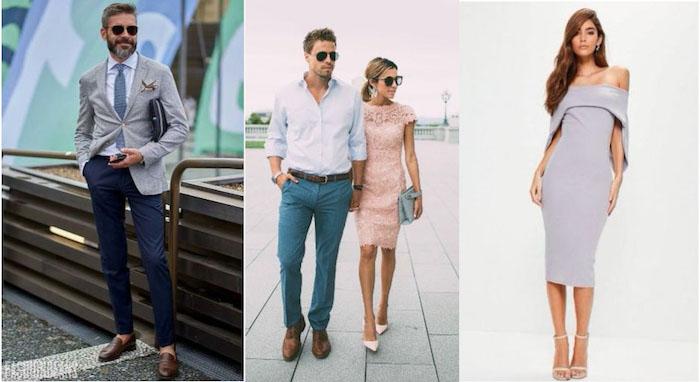 paar mode damen und herren hochzeitsgast outfit ideen grau violett blauer anzug braune schuhe