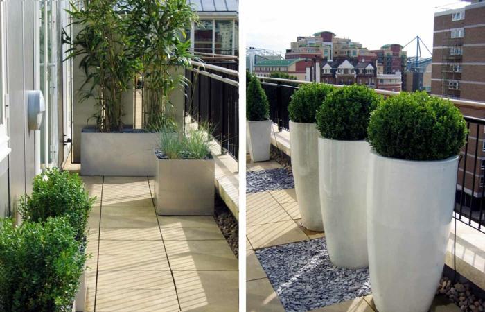 mit viel Grün Terrasee bepflanzen, die beide Ecken von der Terrasse, kunstvolle Pflanzen