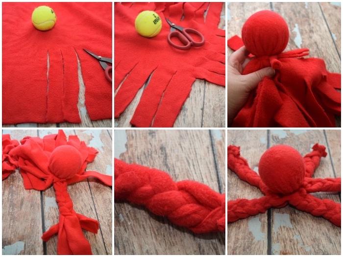 hundespielzeug ball, spielzeug für haustier selber machen, rotem stoff und tennisball