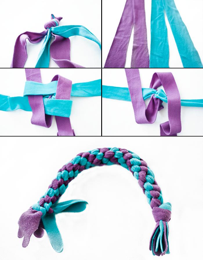 hundespielzeug für große hunde, kauspielzeug aus lila und blauem stoff selber machen