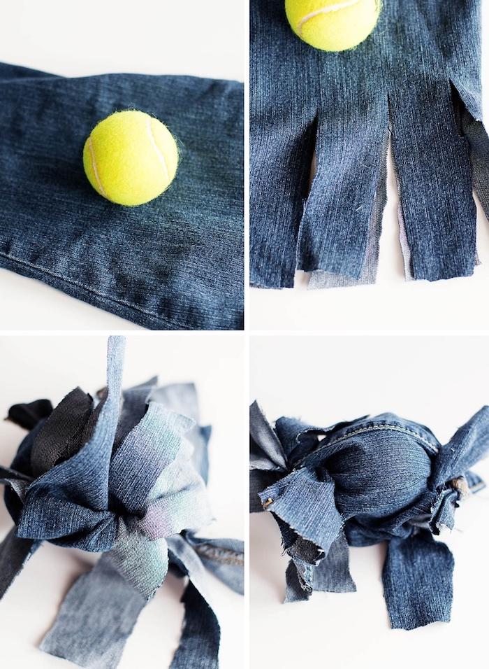 hundespielzeug ball, kauspielzeug aus alten jeans und tennisball, einfach