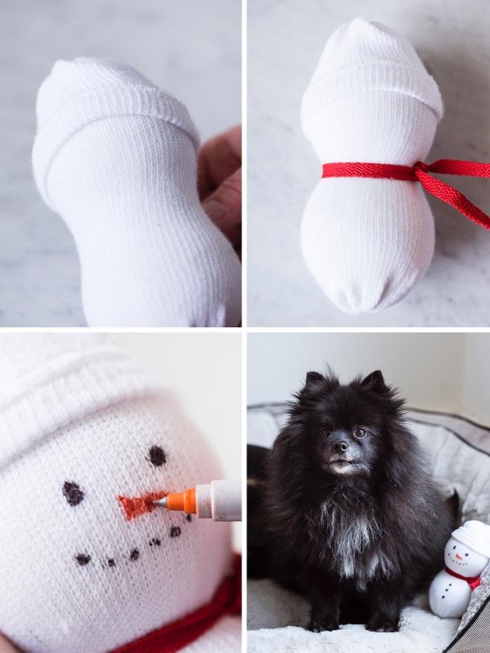 hundespielzeug selber machen, schneemann basteln, schneemann aus weißen socken und tennisbällen