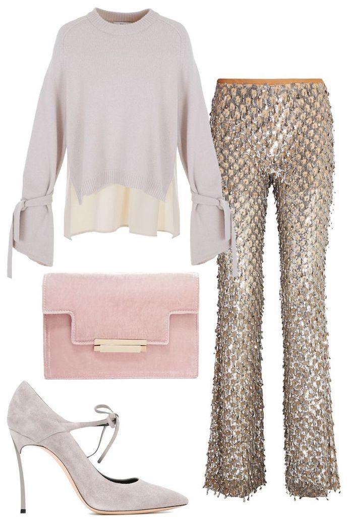 vier teile elegante kleider für hochzeit glänzende hose bluse tasche und absatzschuhe