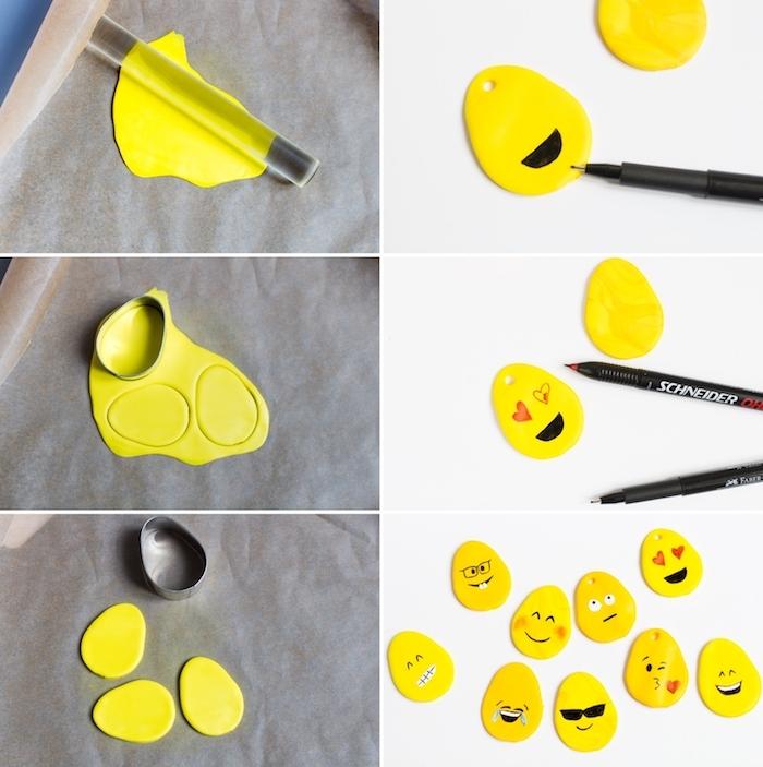 fimo ideen anleitung in einigen schritten, kleine gelbe fimo figuren mit schwarzen augen, brillen und kleinen roten herzen, bastelideen für kinder
