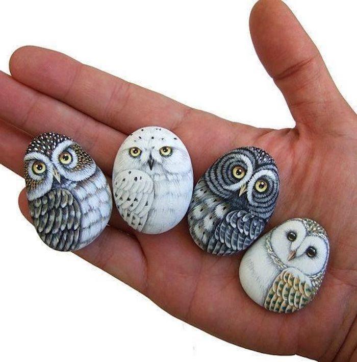 eine hand mit vier kleinen bemalten steinen mit zwei grauen und zwei weißen eulen mit gelben und schwarzen augen und weißen und grauen federn, kleine eulen malen