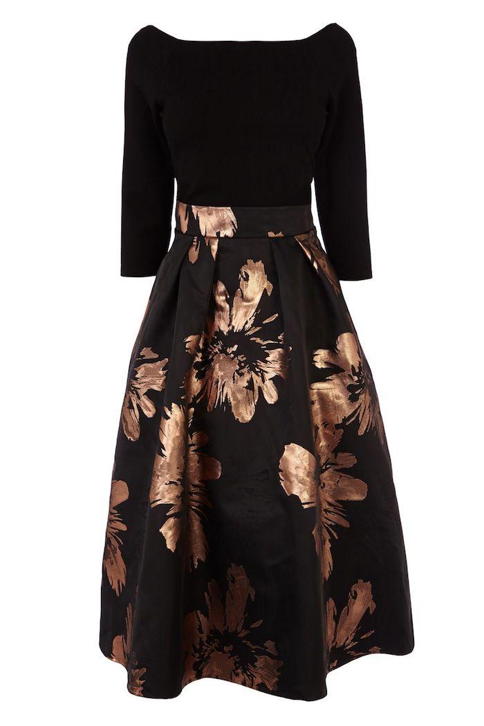 elegante abendkleider hochzeit ideen schwarzes kleid mit goldenen blumen dekoriert