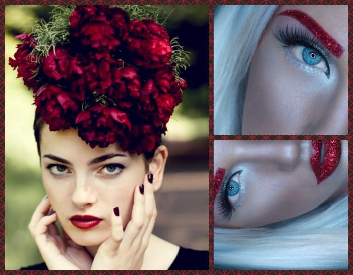 deko auf dem kopf rote blumen und schlne lippen in rot, augenbrauen rot gestalten, kreatives make up