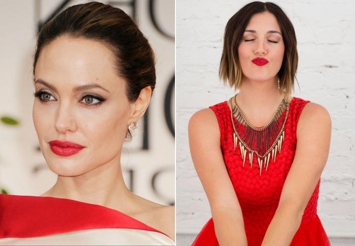 collage mit zwei eleganten damen in rot, angelina jolie, model, wasserfester lippenstift rot, rote kleider