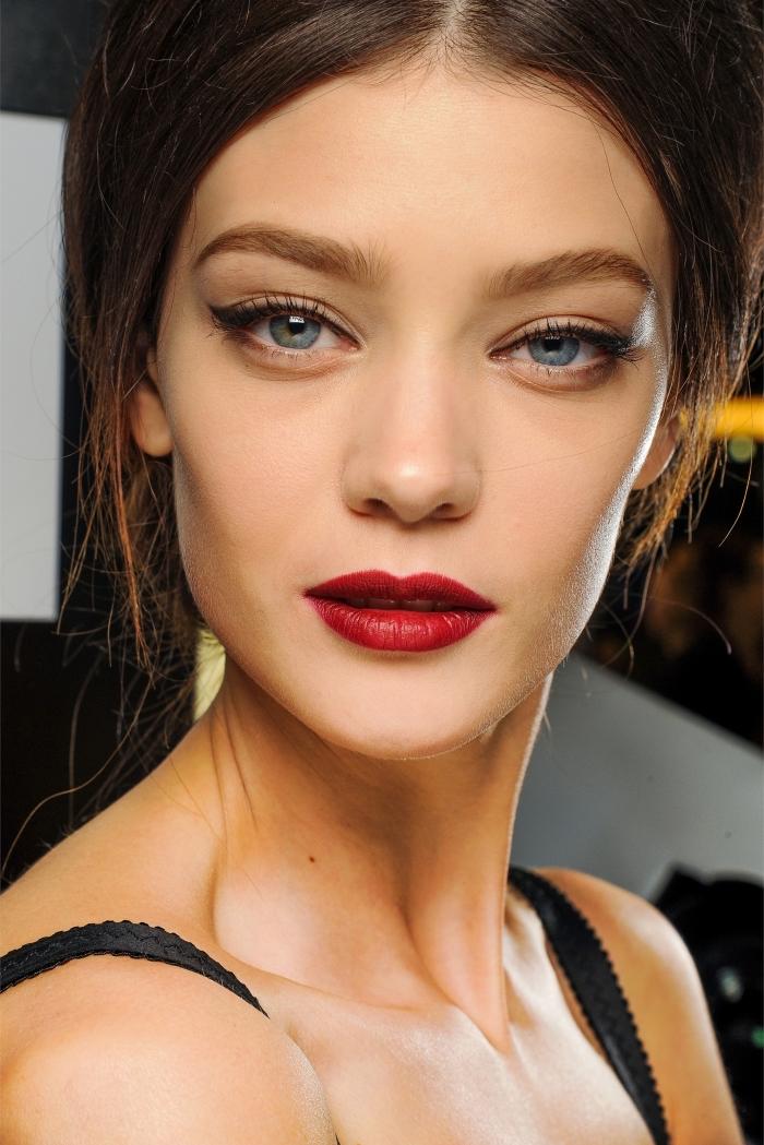 dünne lippen voller schminken in rot und wasserfester lippenstift, katzenaugen schminken, blaue augen
